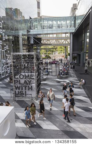 BANGKOK THAILAND - MAY 29 : elevated view of open space between Siam Center and Siam Discovery after renovate in siam square on may 29 2016 thailand. siam discovery and Siam Center is popular place in siam square