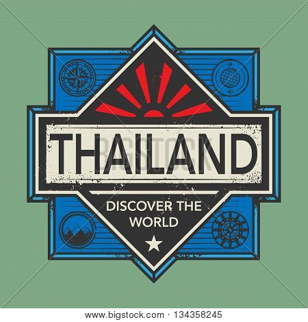 Stamp or vintage emblem with text Thailand, Discover the World, vector illustration