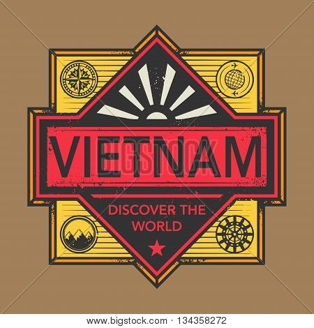 Stamp or vintage emblem with text Vietnam, Discover the World, vector illustration