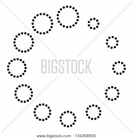 Circular loading sign. Dot style or bullet style icon on white.