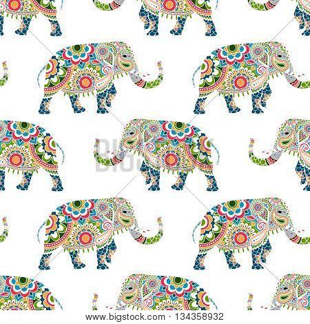 Seamless pattern of colorful elephants decorated mandala ornament