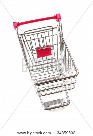 Shopping cart on a white background wide angle studio shot