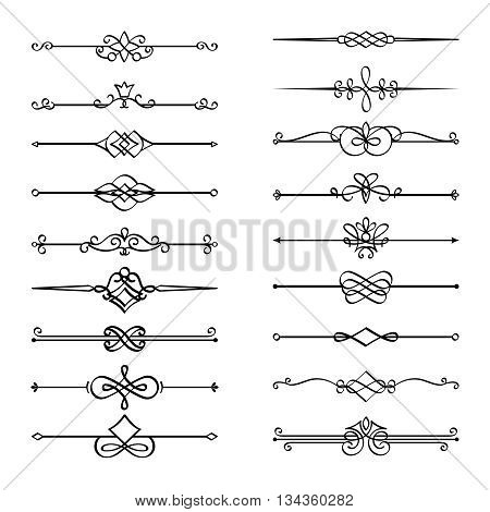 Calligraphic page dividers. Vector flourishes page decoration vignettes