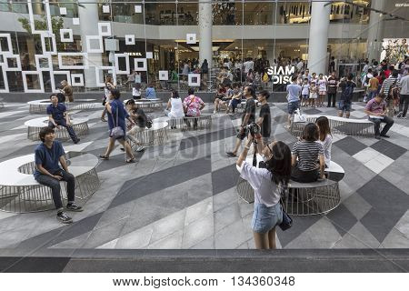 BANGKOK THAILAND - MAY 29 : activity of people in open space at Siam discovery after renovate in siam square on may 29 2016 thailand. siam discovery is popular shopping mall in siam square