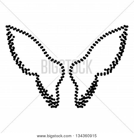 Wings sign illustration. Dot style or bullet style icon on white.