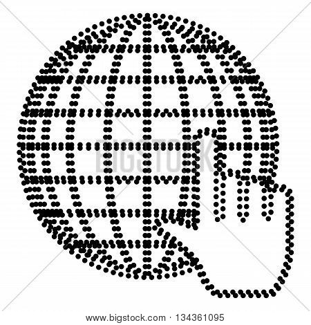 Earth Globe with cursor. Dot style or bullet style icon on white.