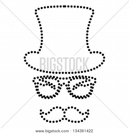 Hipster accessories design. Dot style or bullet style icon on white.