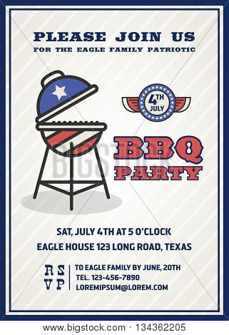 Barbecue's party invitation and response card fourth of July cerebration USA Independence day party invitation design with badge and gril. Vector illustration