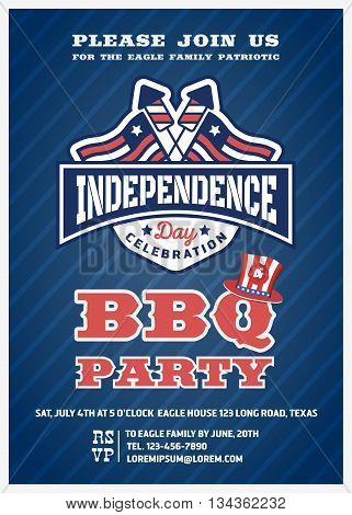 Barbecue's party invitation and response card fourth of July cerebration USA Independence day party invitation design with firework and flag badge. Vector illustration