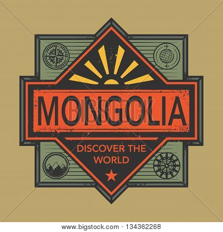 Stamp or vintage emblem with text Mongolia, Discover the World, vector illustration