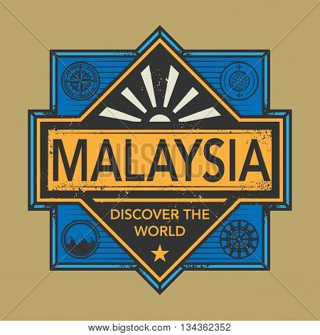 Stamp or vintage emblem with text Malaysia, Discover the World, vector illustration