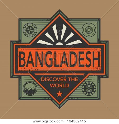 Stamp or vintage emblem with text Bangladesh, Discover the World, vector illustration