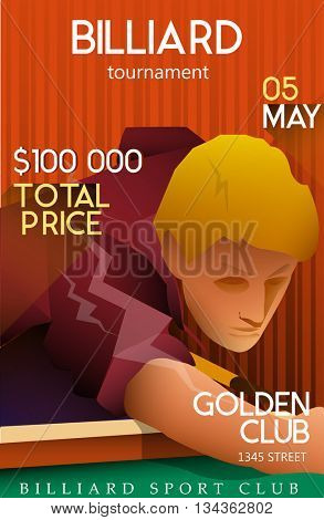 Billiards tournament poster with playing man. Price time and date. Vector illustration