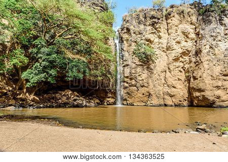 Waterfall in Masai Mara Game Park in Kenya Africa