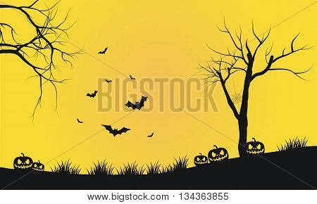 Halloween yellow backgrounds silhouette pumpkins and bat