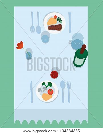 Vector illustration of flat table for two top view