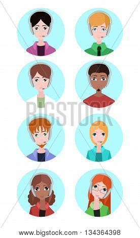 Portraits of various people tech support. Vector element for design your site