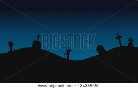 Scary graves halloween backgrounds silhouette at the night