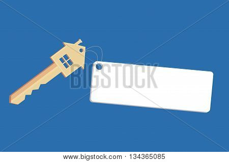 Illustration with house keys and tag with space for text. Vector element for your design