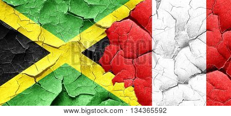 Jamaica flag with Peru flag on a grunge cracked wall