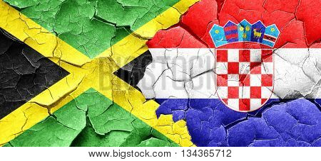 Jamaica flag with Croatia flag on a grunge cracked wall