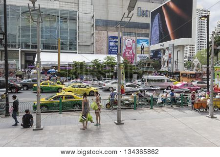BANGKOK THAILAND - MAY 22 : scene of pedestrian in front of Big C Supercenter in Ratchaprasong area on may 22 2016 thailand. Ratchaprasong is one of is famous landmark of Bangkok