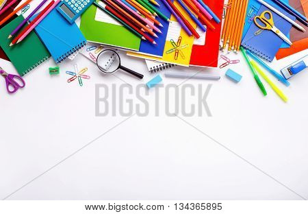 School supplies on a white background with copy space top view
