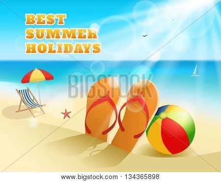 Summer colored composition with flip-flops and ball on the beach and the title best summer holidays vector illustration