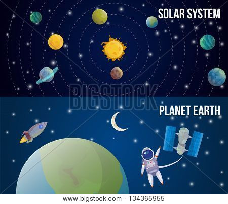 Two horizontal space universe set with descriptions of solar system and planet earth vector illustration