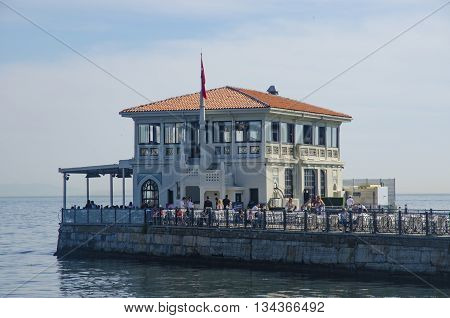 Istanbul Turkey - May 29 2016: Historical Moda Port of Moda Istanbul Turkey. Istanbul's Kadikoy district was built in 1915 by architect Vedat Tek. Moda Historical Wharf and indigenous people of the region there are many arts and foreign statesmen guest mi