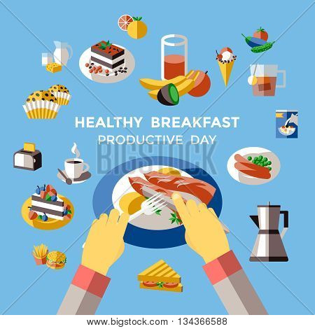 Breakfast colored composition with isolated icon set and headline healthy breakfast productive day vector illustration
