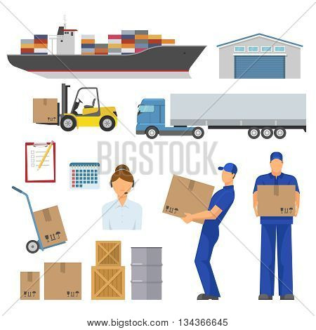 Logistics decorative flat icons set with ship warehouse loader truck trolley operator workers goods isolated vector illustration