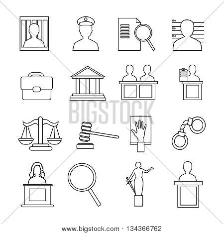 Judicial system icon set recognizable symbols of the judicial system isolated on whine background vector illustration