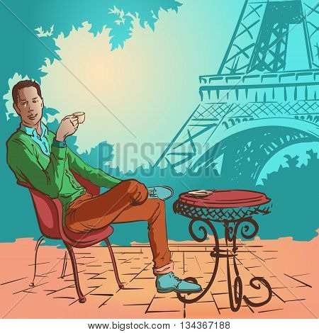 Young stylish man sitting in the street caffee in Paris and enjoying his morning coffee. EPS10 vector illustration.