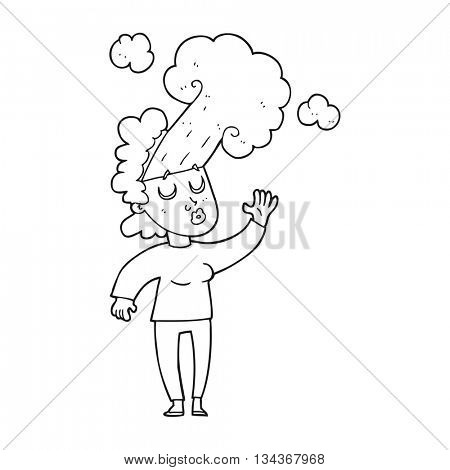 freehand drawn black and white cartoon woman letting off steam