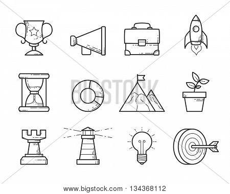 Business strategy icons set  // Black & White