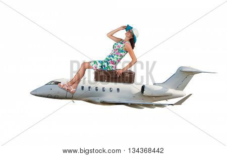 Young woman sitting on airplane,isolated on white background. Concept of traveling and summer vacation