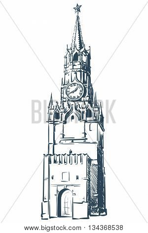 Spasskaya Tower in Moscow Kremlin drawn in a simple sketch style. Isolated contour on white background. EPS8 vector illustration.