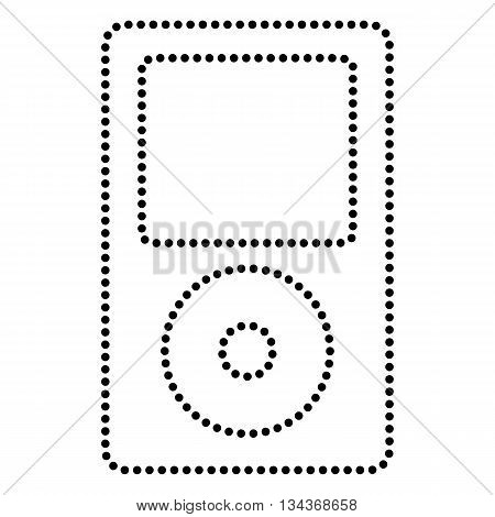 Portable music device. Dot style or bullet style icon on white.