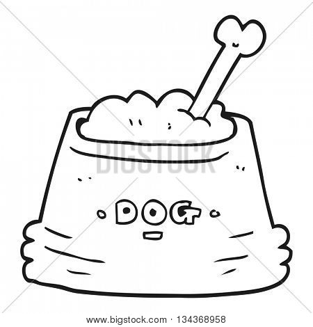 freehand drawn black and white cartoon dog food bowl