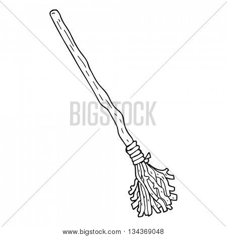 freehand drawn black and white cartoon broomstick