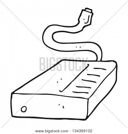 freehand drawn black and white cartoon hard drive