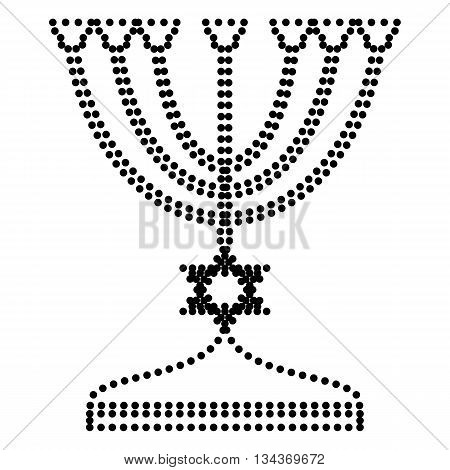Jewish Menorah candlestick in black silhouette. Dot style or bullet style icon on white.