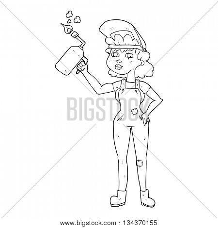 freehand drawn black and white cartoon woman welding