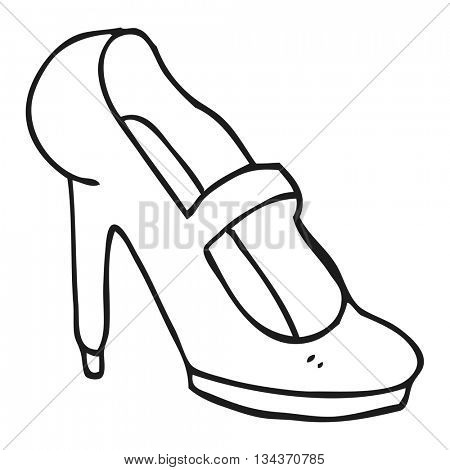 freehand drawn black and white cartoon high heeled shoe