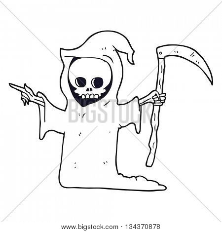 freehand drawn black and white cartoon death with scythe