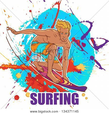 Blond smiling surfer in shorts riding a wave on a surfboard. Grunge abstract background. EPS10 vector illustration.