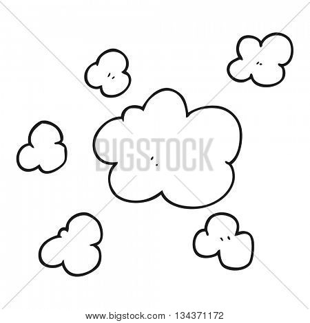 freehand drawn black and white cartoon steam clouds