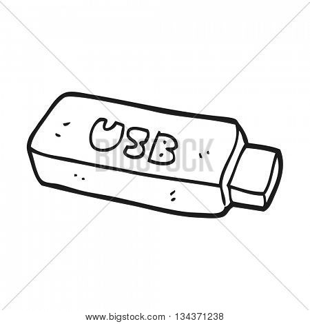freehand drawn black and white cartoon USB stick