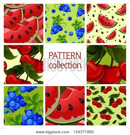 Fruit patterns seamless collection. Red Watermelon, blue grapes, fresh juicy cherry. Vector illustration.